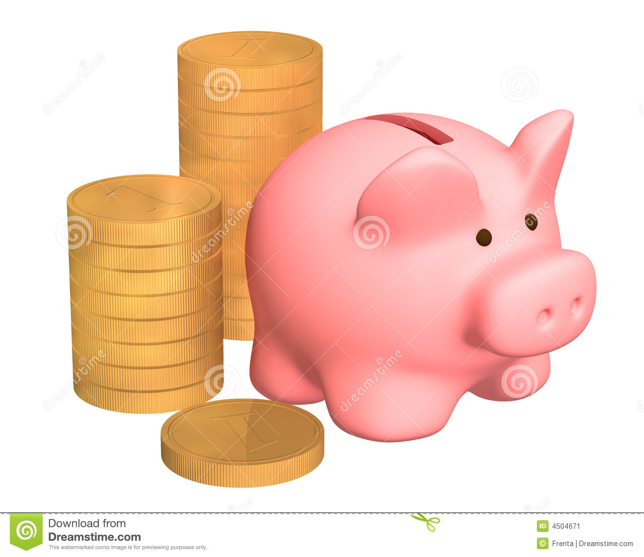 Columns Of Gold Coins Near To A Pig A Coin Box Stock