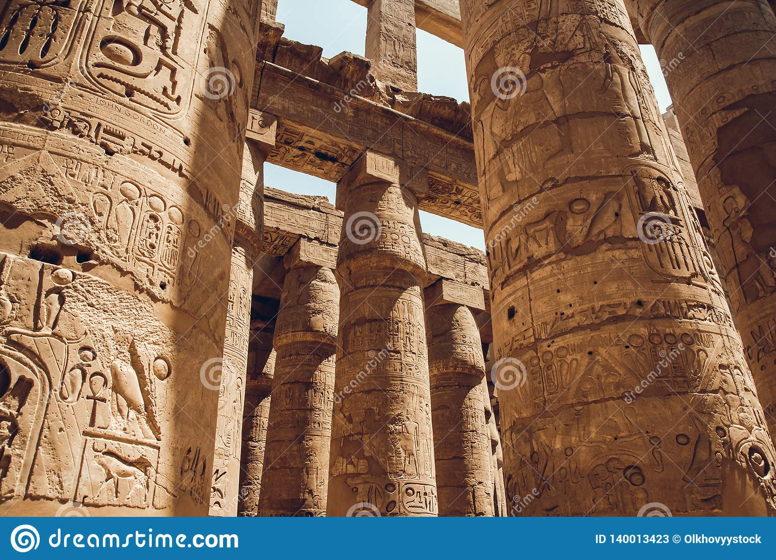 Columns with hieroglyphs in Karnak Temple at Luxor, Egypt. travel