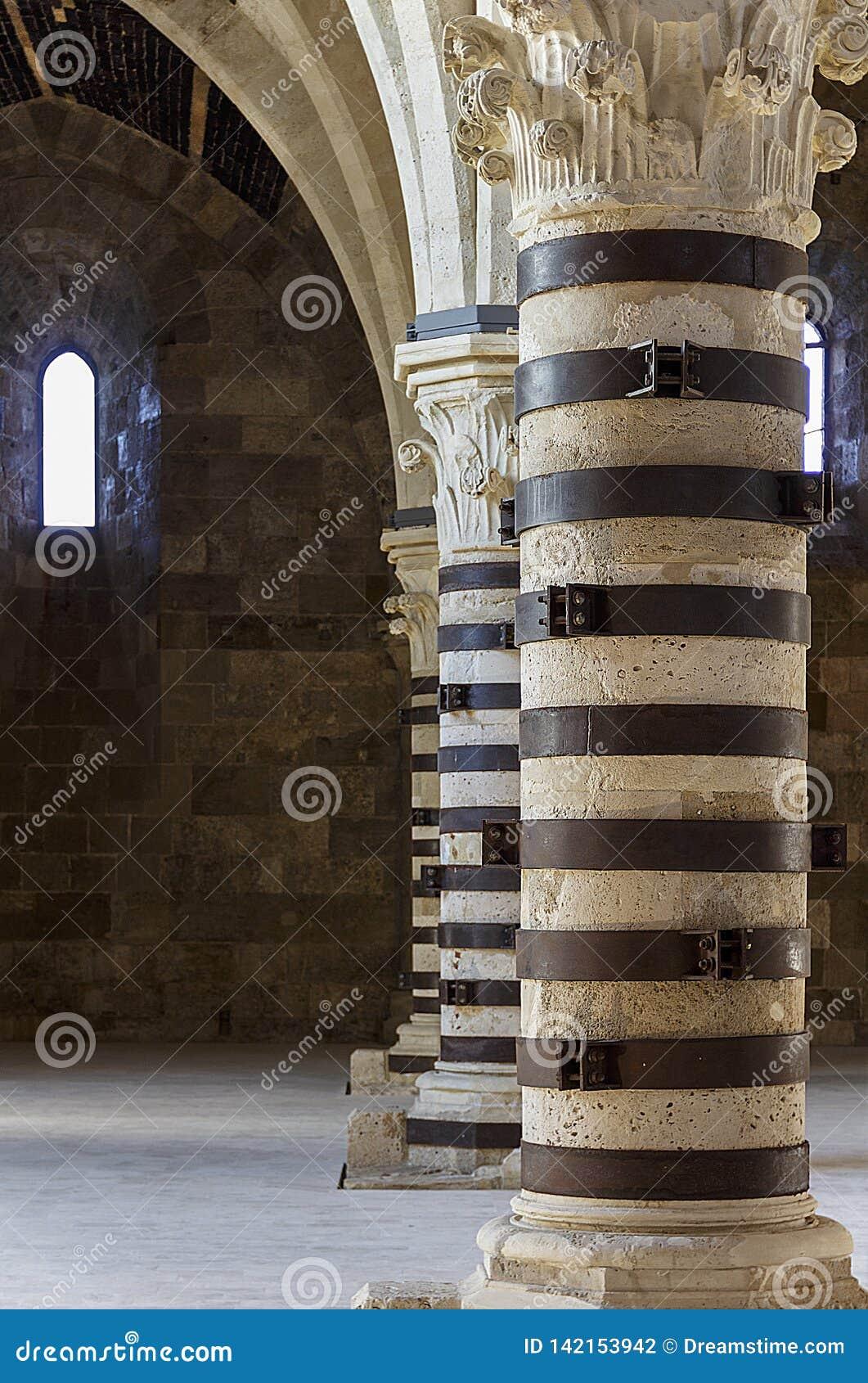 columns inside the Castello Maniace, Siracusa, Sicily