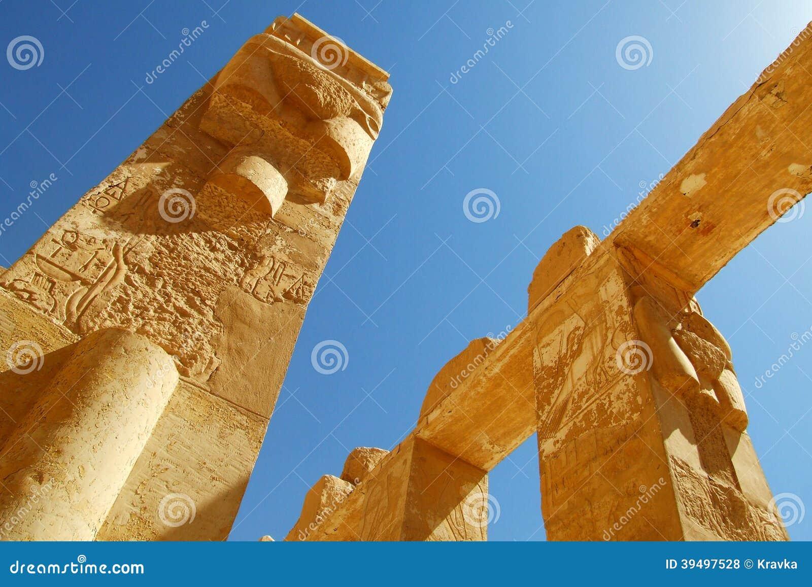 Coluna e roteiro egípcios antigos