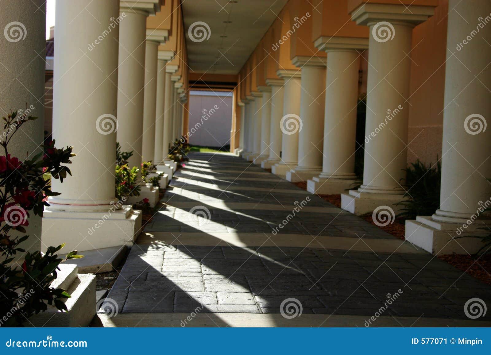 Colunas na luz do sol e nas sombras