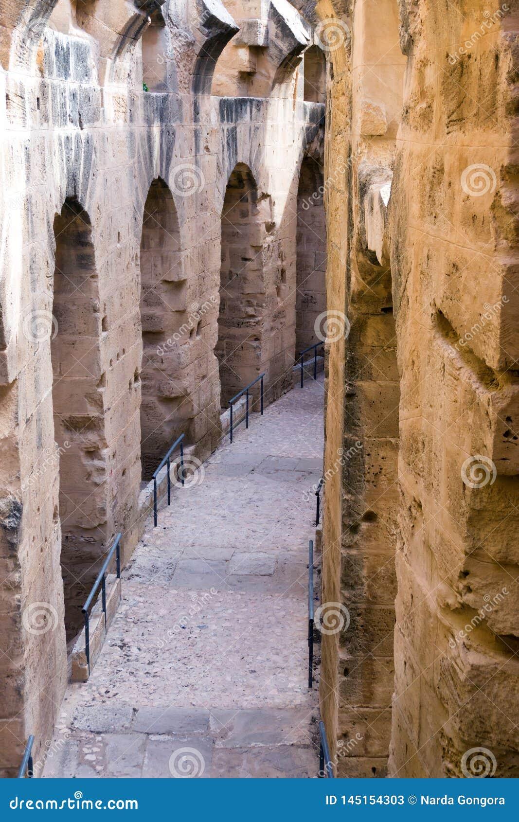 Colunas no anfiteatro do EL Jem no EL Djem, Tunísia