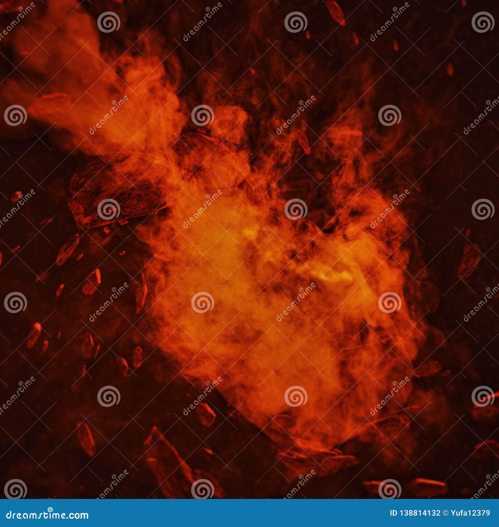 Comète du feu dans l espace avec la tempête de météore Déplacement puissant d étoile Art de concept