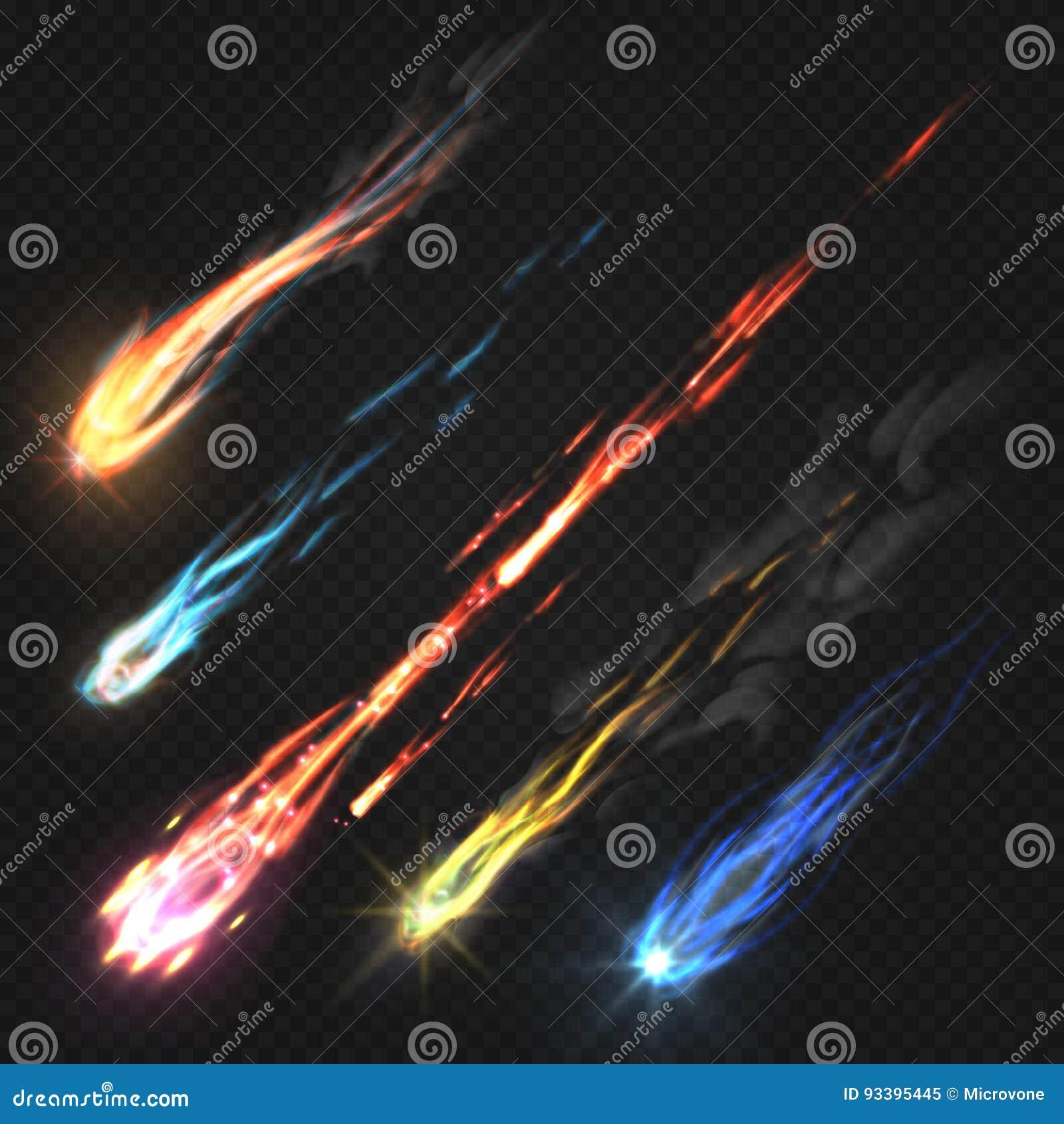 Comètes de ciel et météorite, traînées de fusée d isolement sur le fond transparent foncé