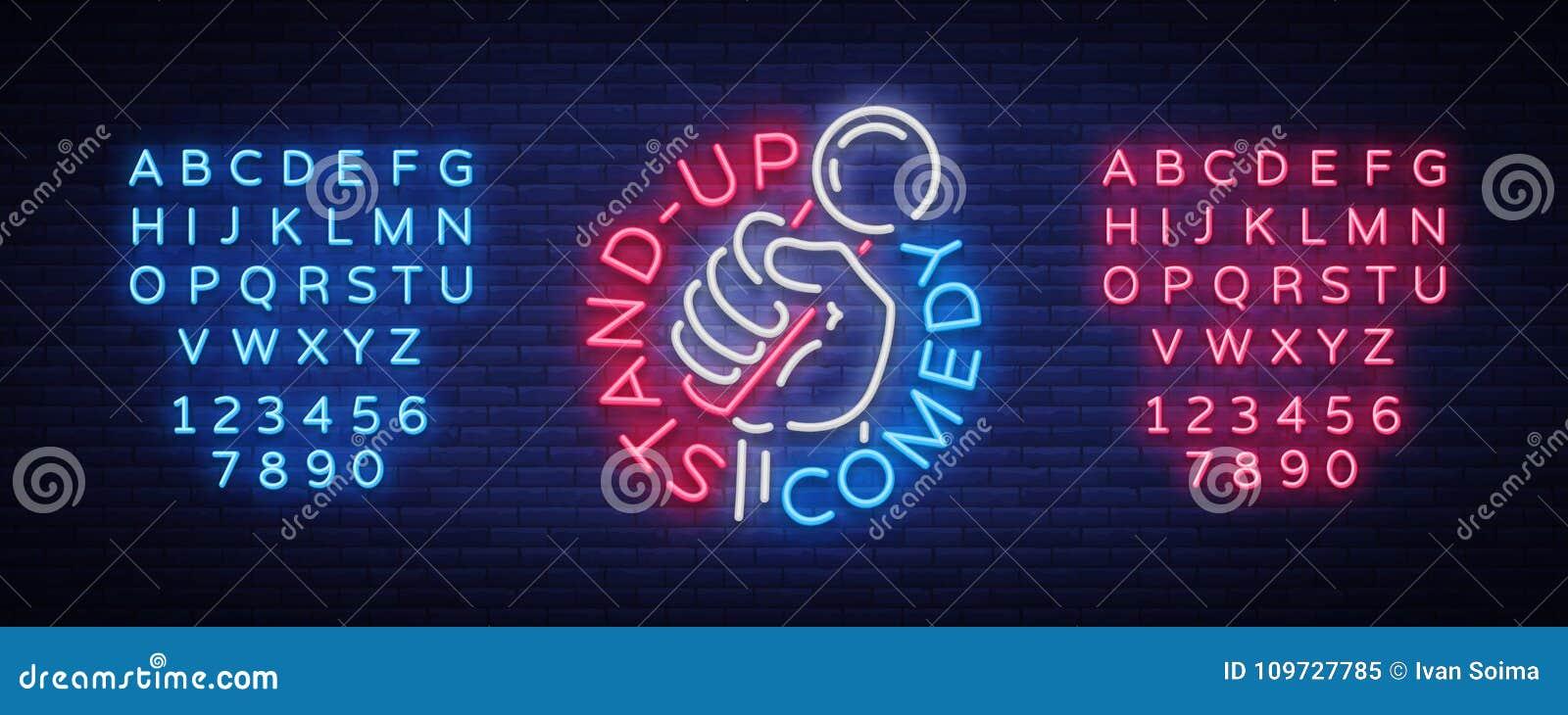 A comédia está acima o convite é um sinal de néon Logotipo, inseto brilhante do emblema, cartaz claro, bandeira de néon, anúncios