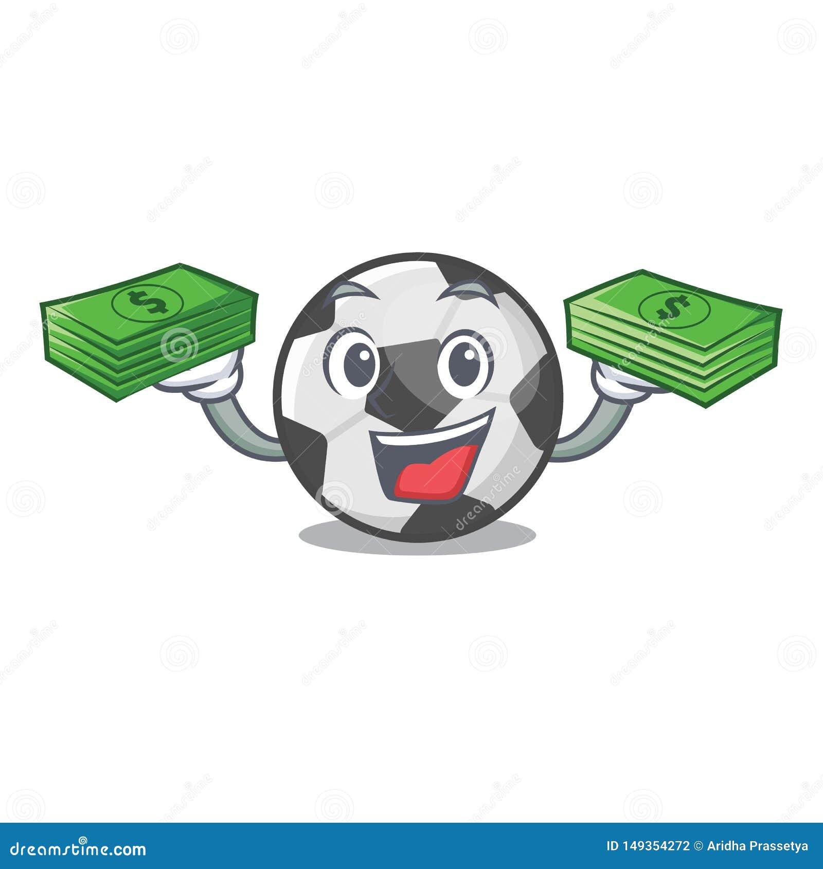 Com a bola de futebol do saco do dinheiro em uma cesta dos desenhos animados