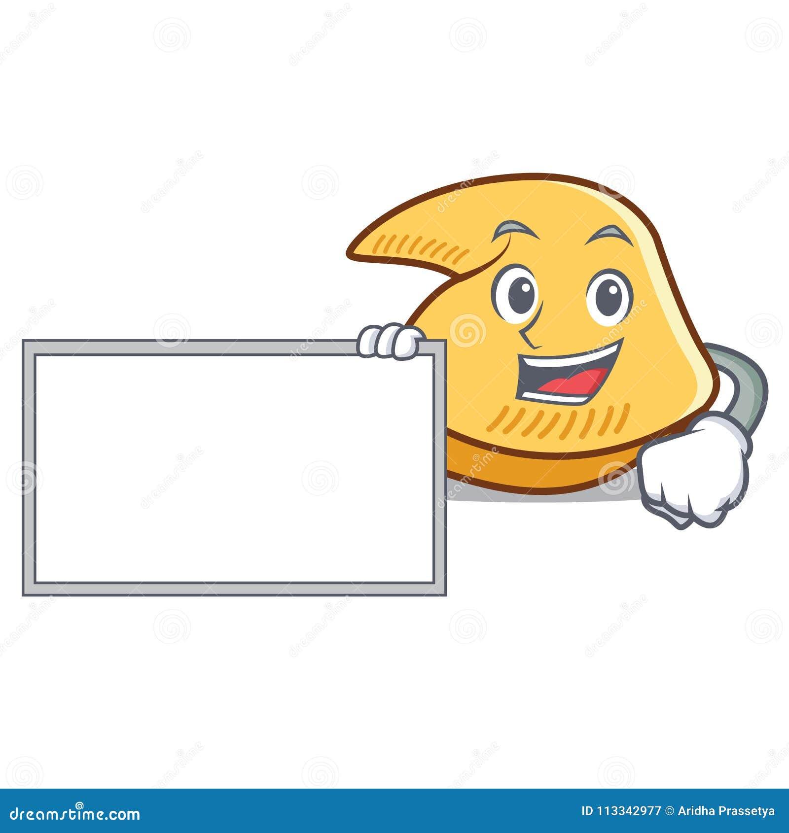 Com desenhos animados do caráter da cookie de fortuna da placa