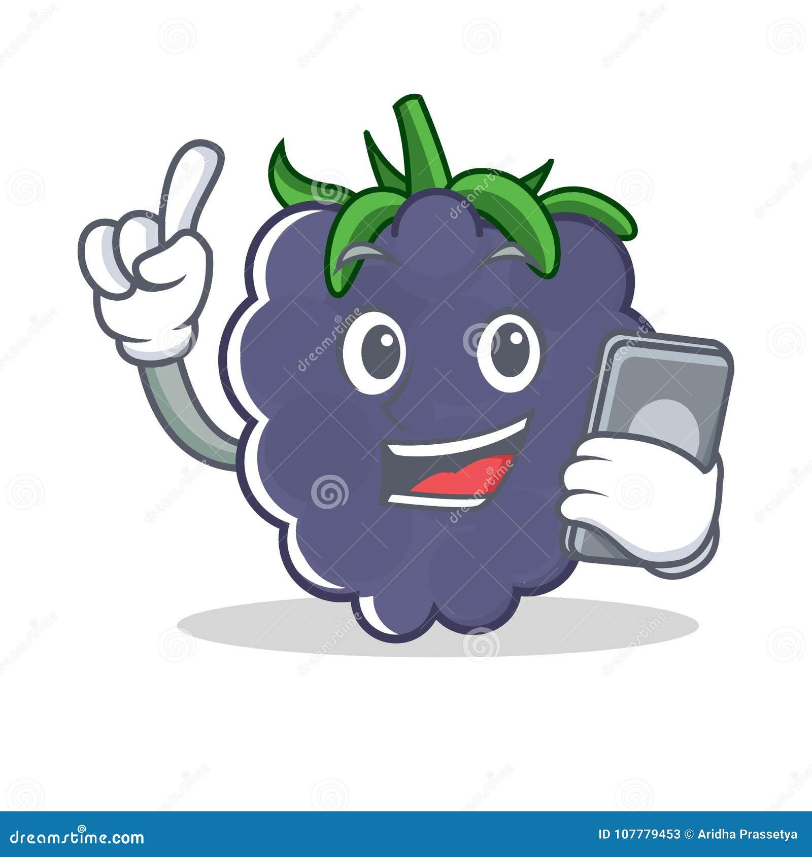 Com estilo dos desenhos animados do caráter da amora-preta do telefone