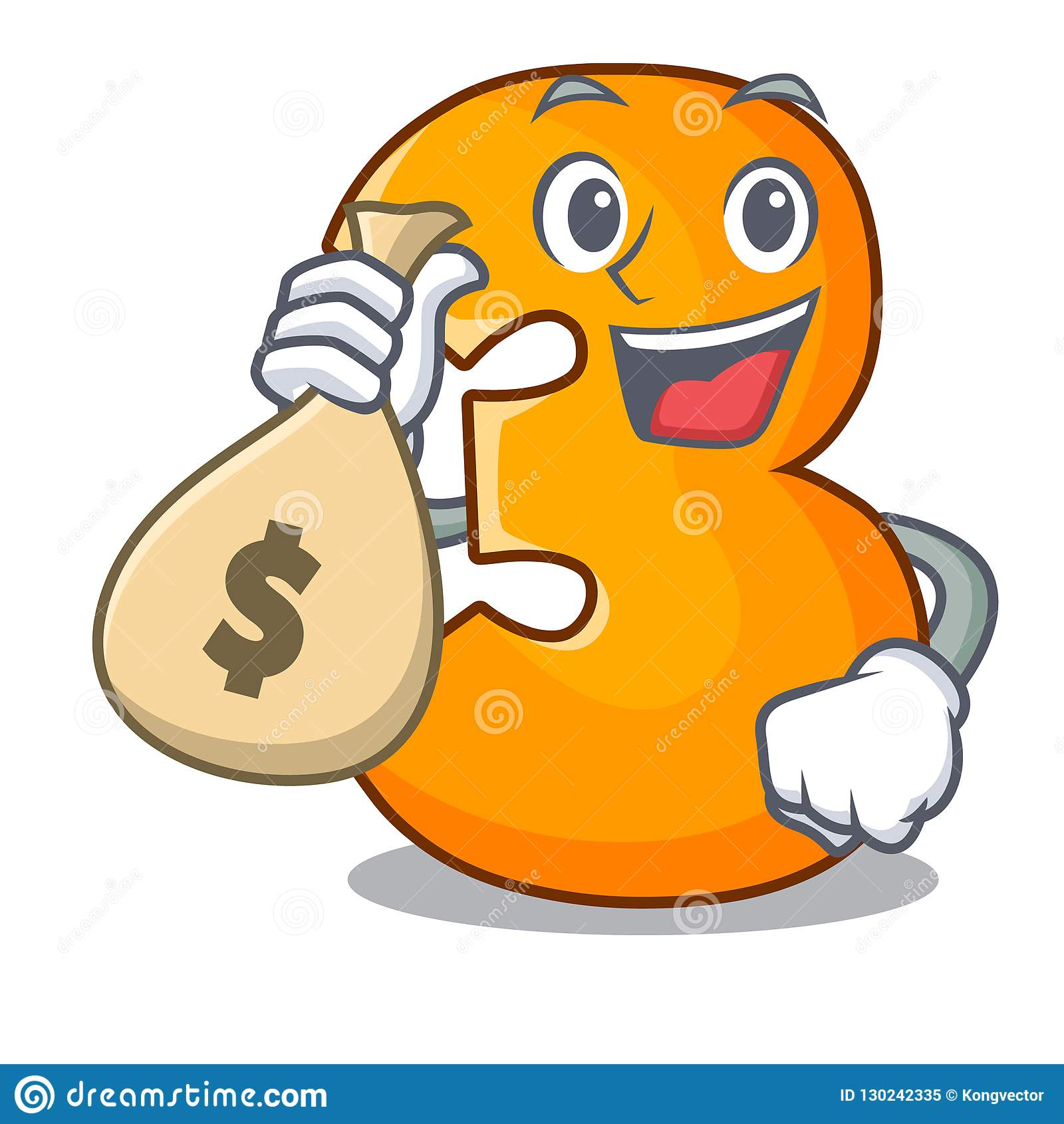 Com letra do número três do corte do papel do caráter do saco do dinheiro