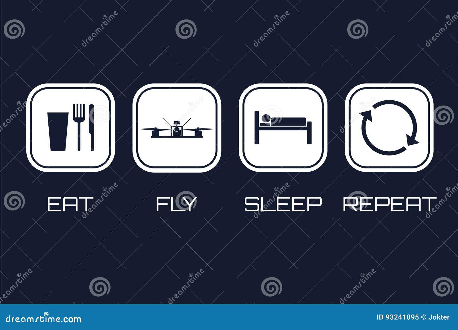 Coma ícones da repetição do sono da mosca Programação engraçada para competir o quadrocopt