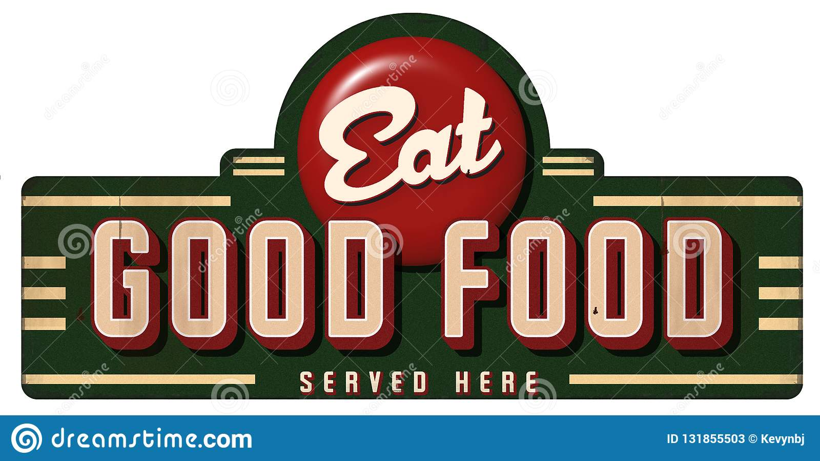 Coma el buen metal de la muestra del vintage de la comida servido aquí