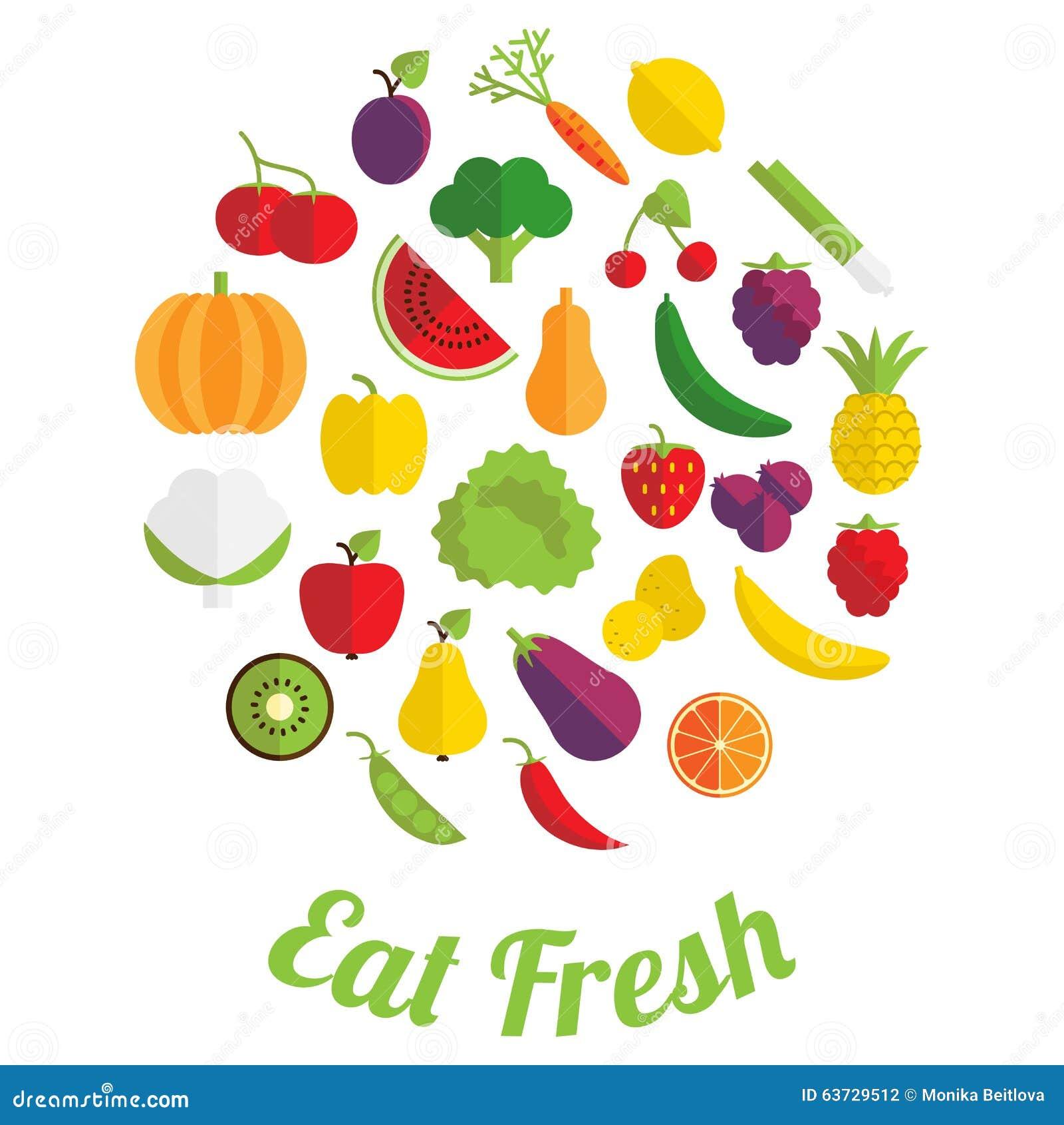 Coma a etiqueta fresca com frutas e legumes