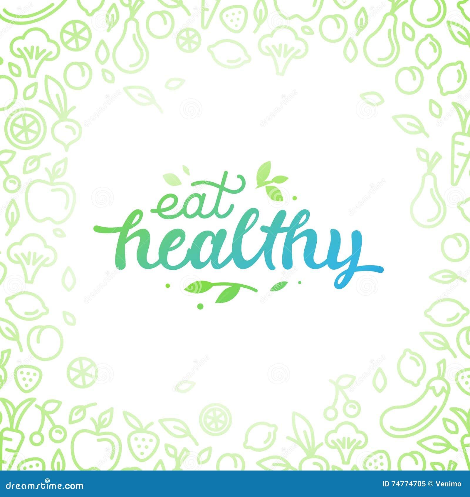 Coma saudável - cartaz inspirador ou bandeira