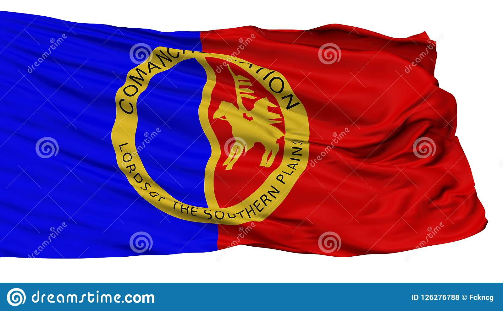Comanche Nation Indian Flag Isolated On White Stock Illustration