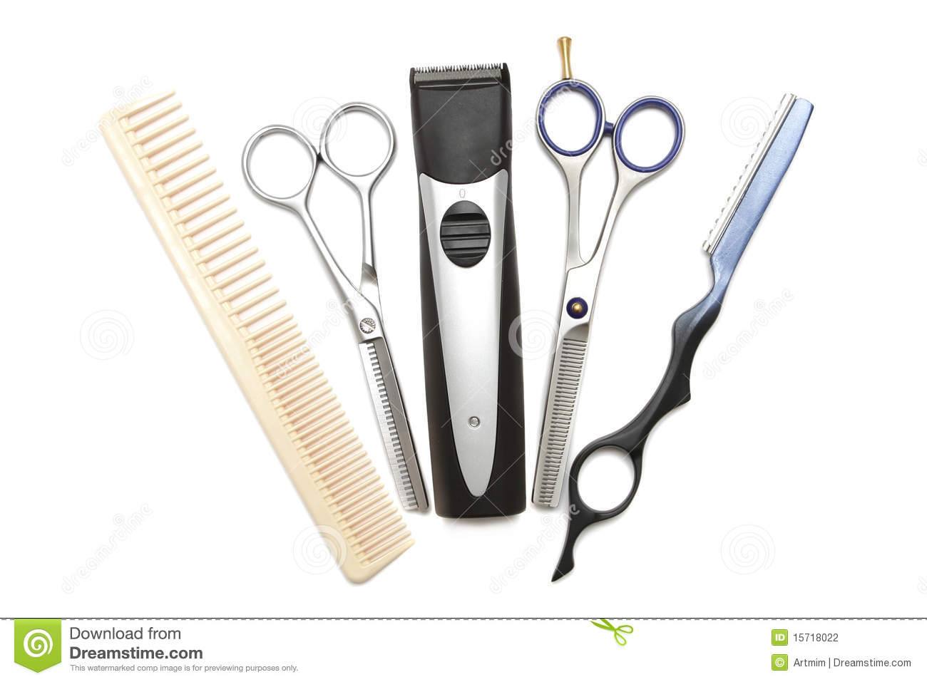 Hairdressing industry. Professional hairdressing tools. Comb, scissor ...