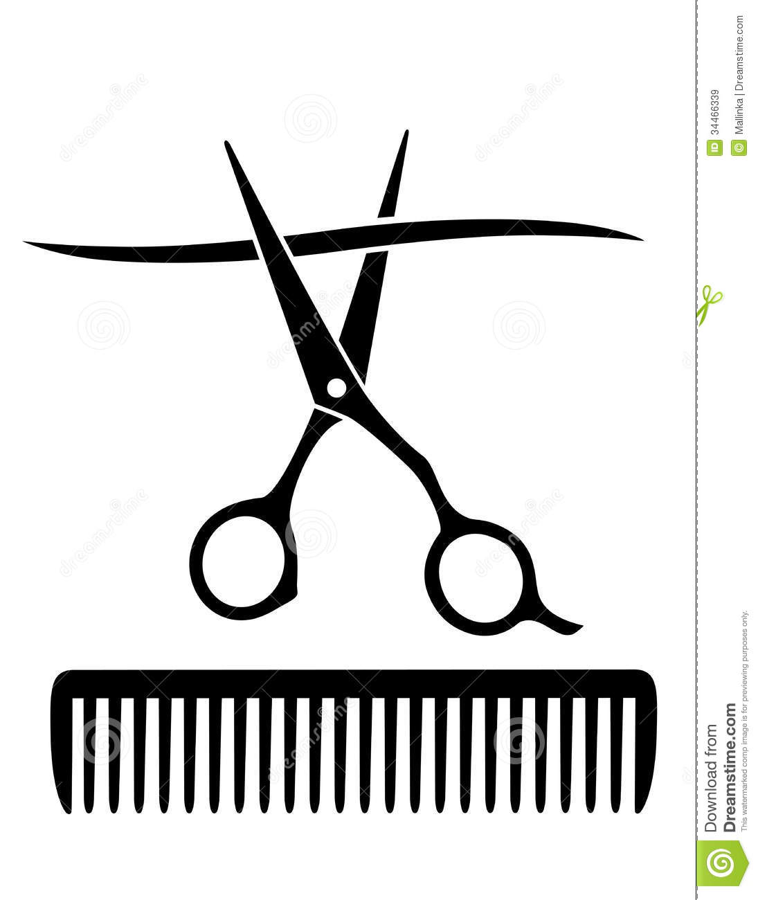 comb and scissors cutting strand of hair stock vector
