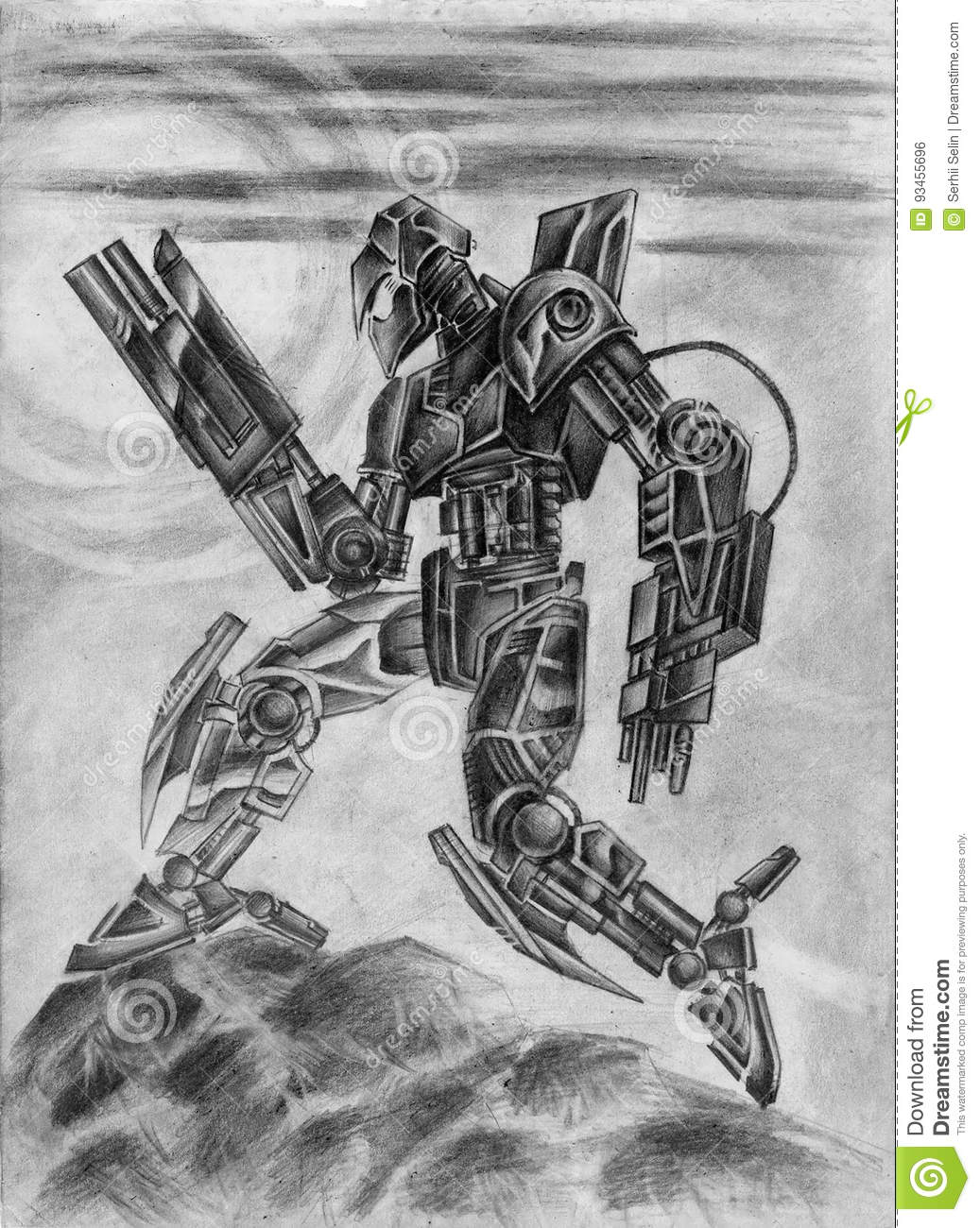 Combat black robot science fiction illustration in black and white colors freehand pencil drawing