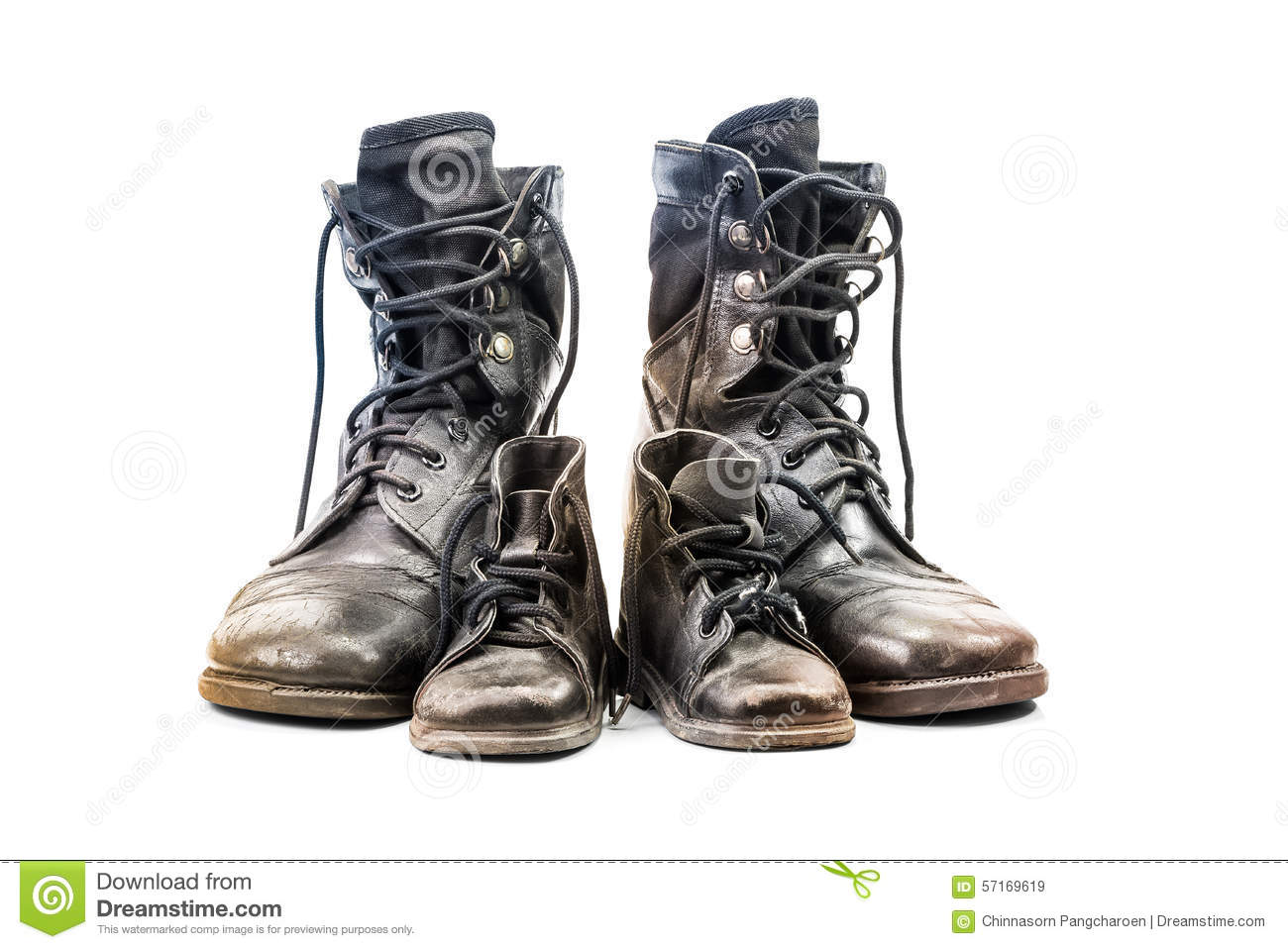 Combat Boots For Adult And Kid Stock Photo - Image: 56432522