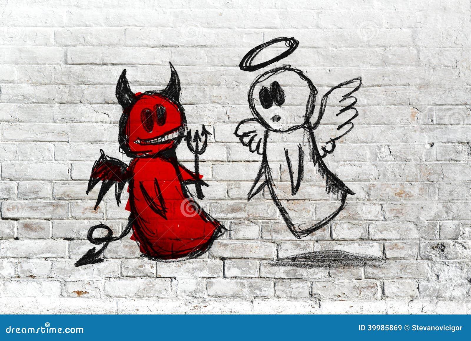 combat d 39 ange et de diable dessin de griffonnage sur le mur de briques blanc illustration. Black Bedroom Furniture Sets. Home Design Ideas
