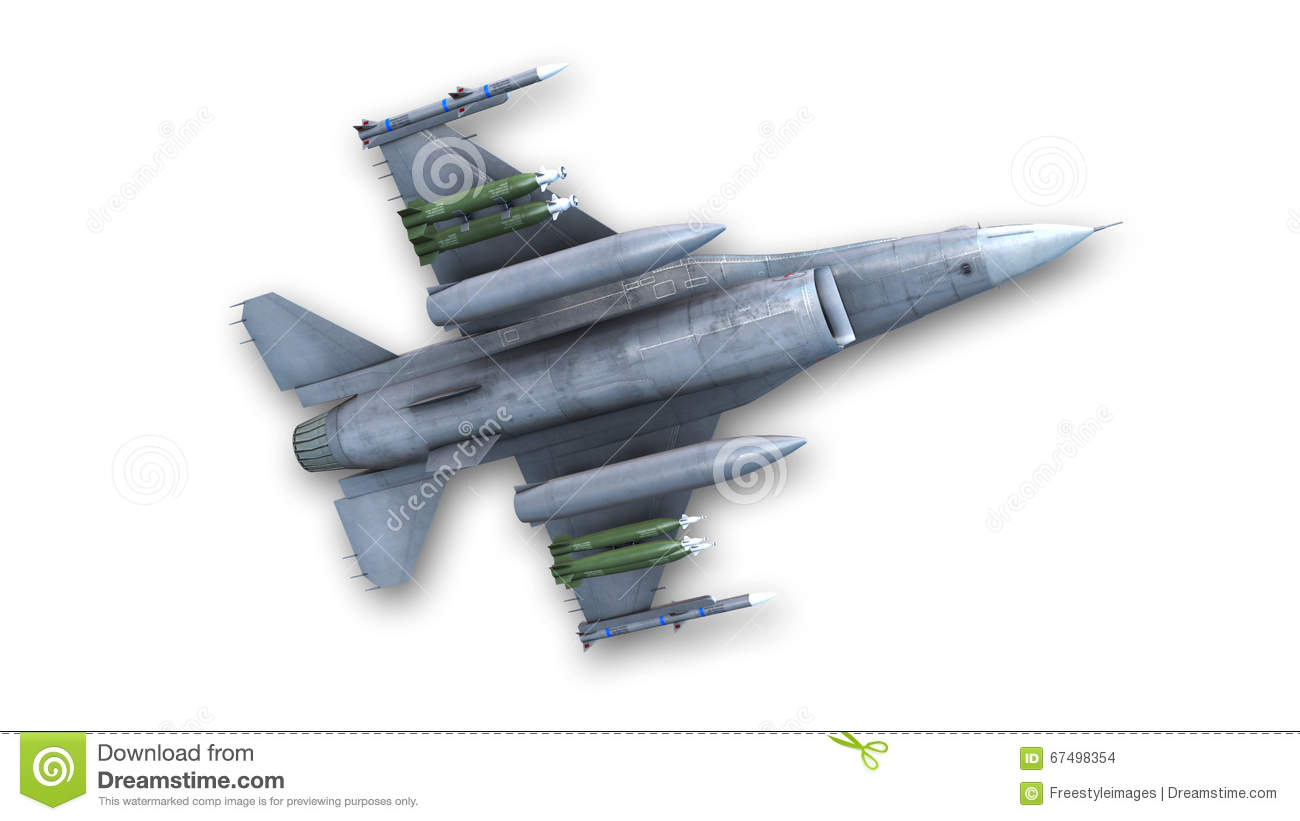 Combat Fighter Jet Military Aircraft Bottom View Stock