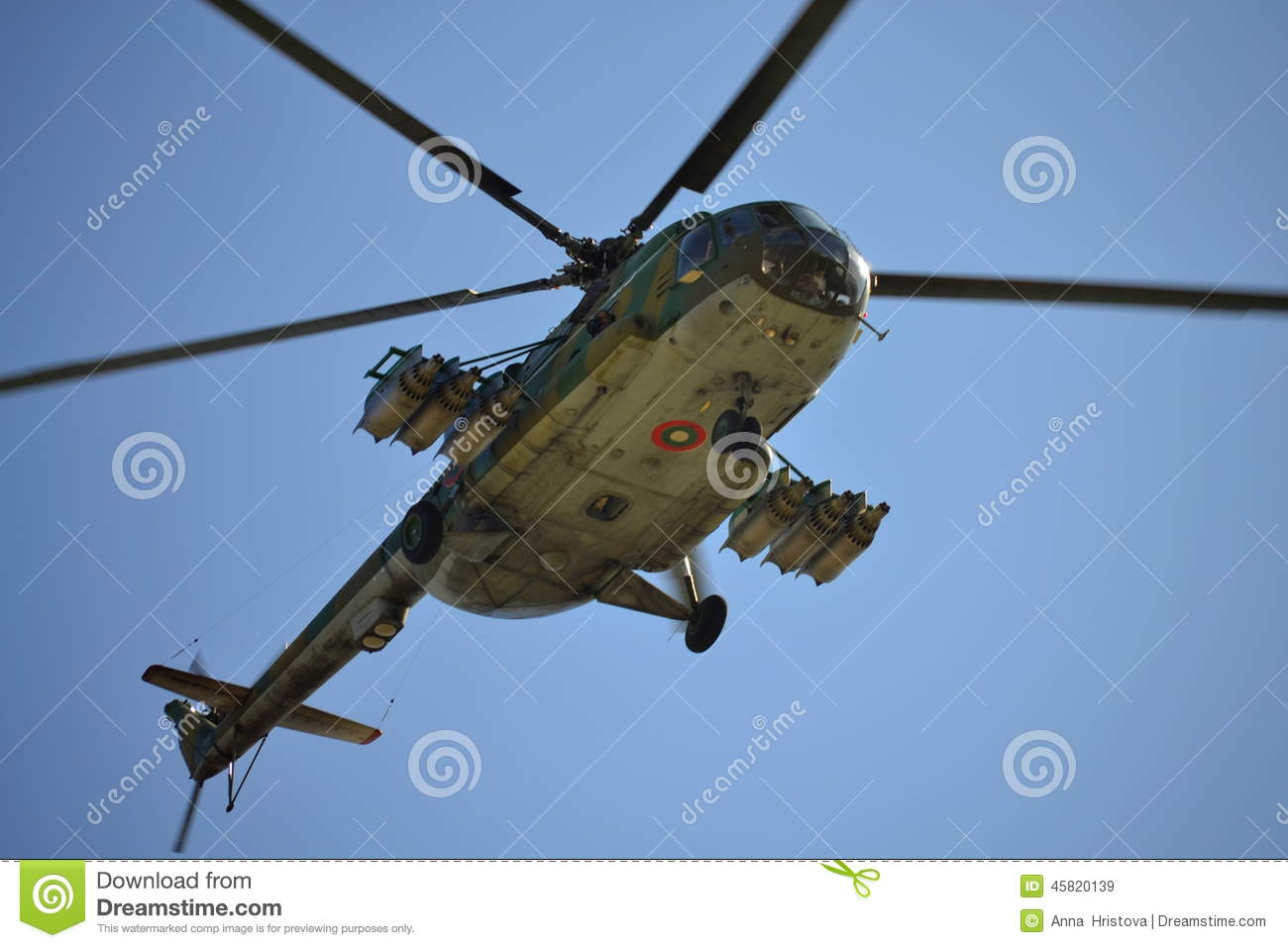 combat-helicopter-flying-underneath-view