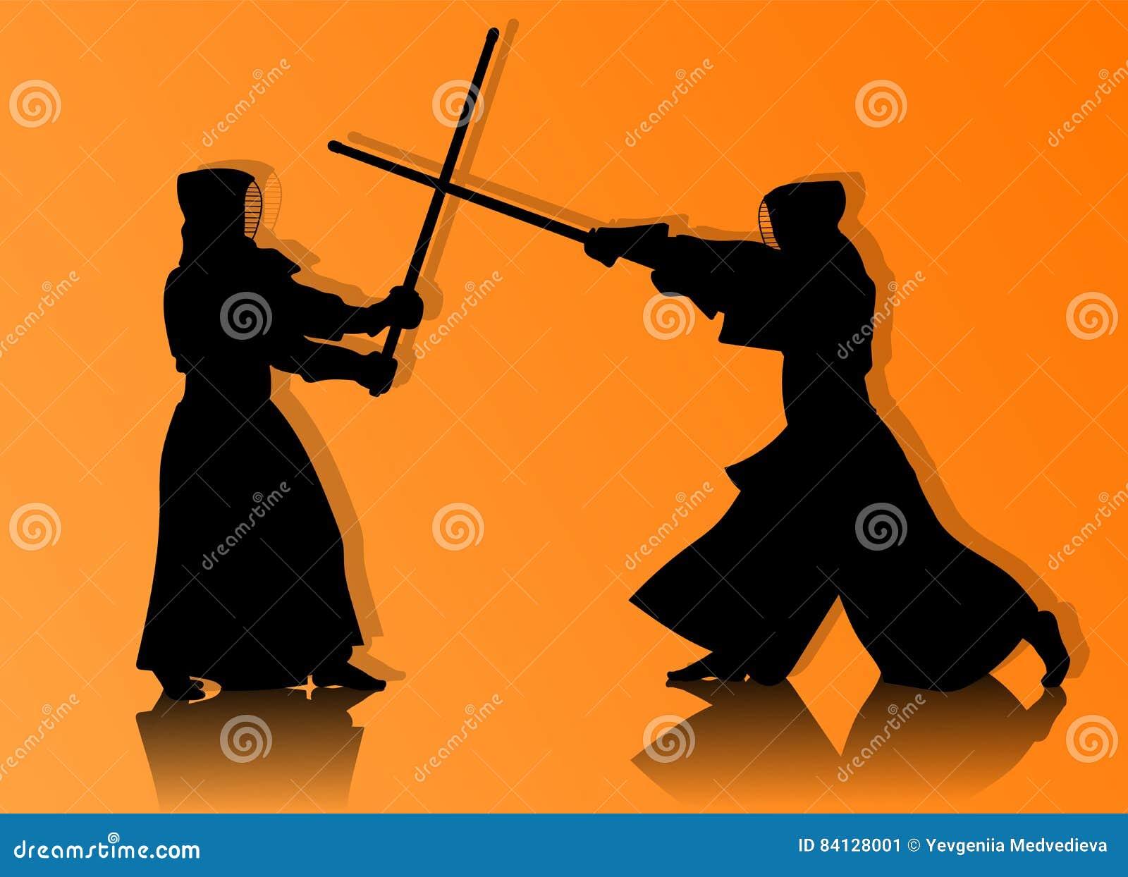 Combatientes de Kendo en silueta tradicional de la ropa