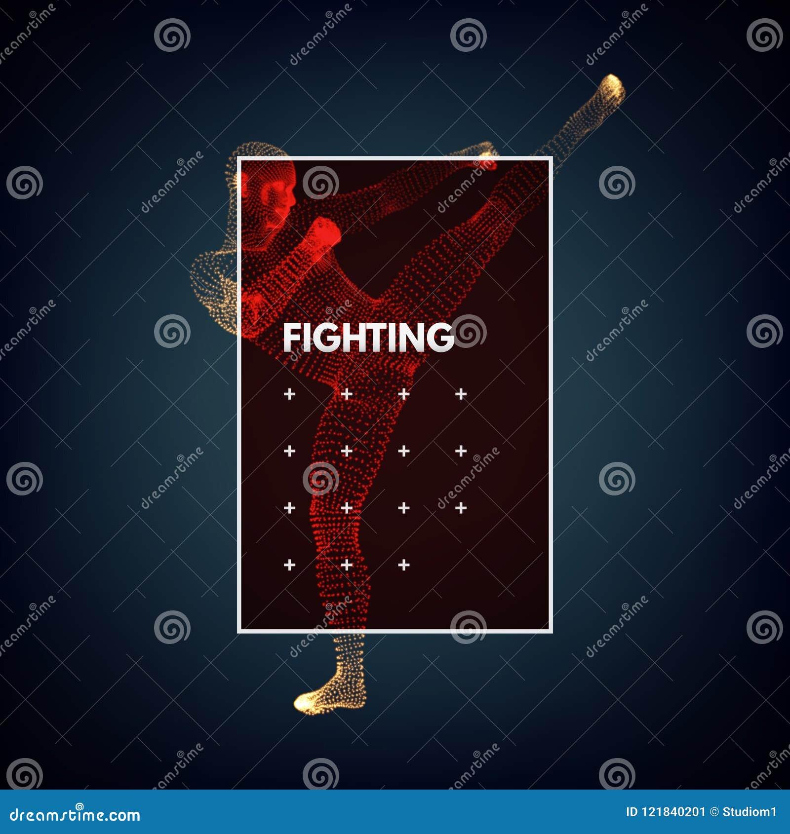 Combattant de Kickbox préparant pour exécuter un coup-de-pied élevé Homme de combat Calibre de conception pour le sport