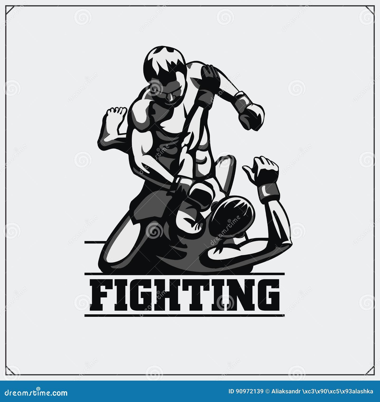 Combattenti delle arti miste marziali Emblema del club di sport Illustrazione di vettore