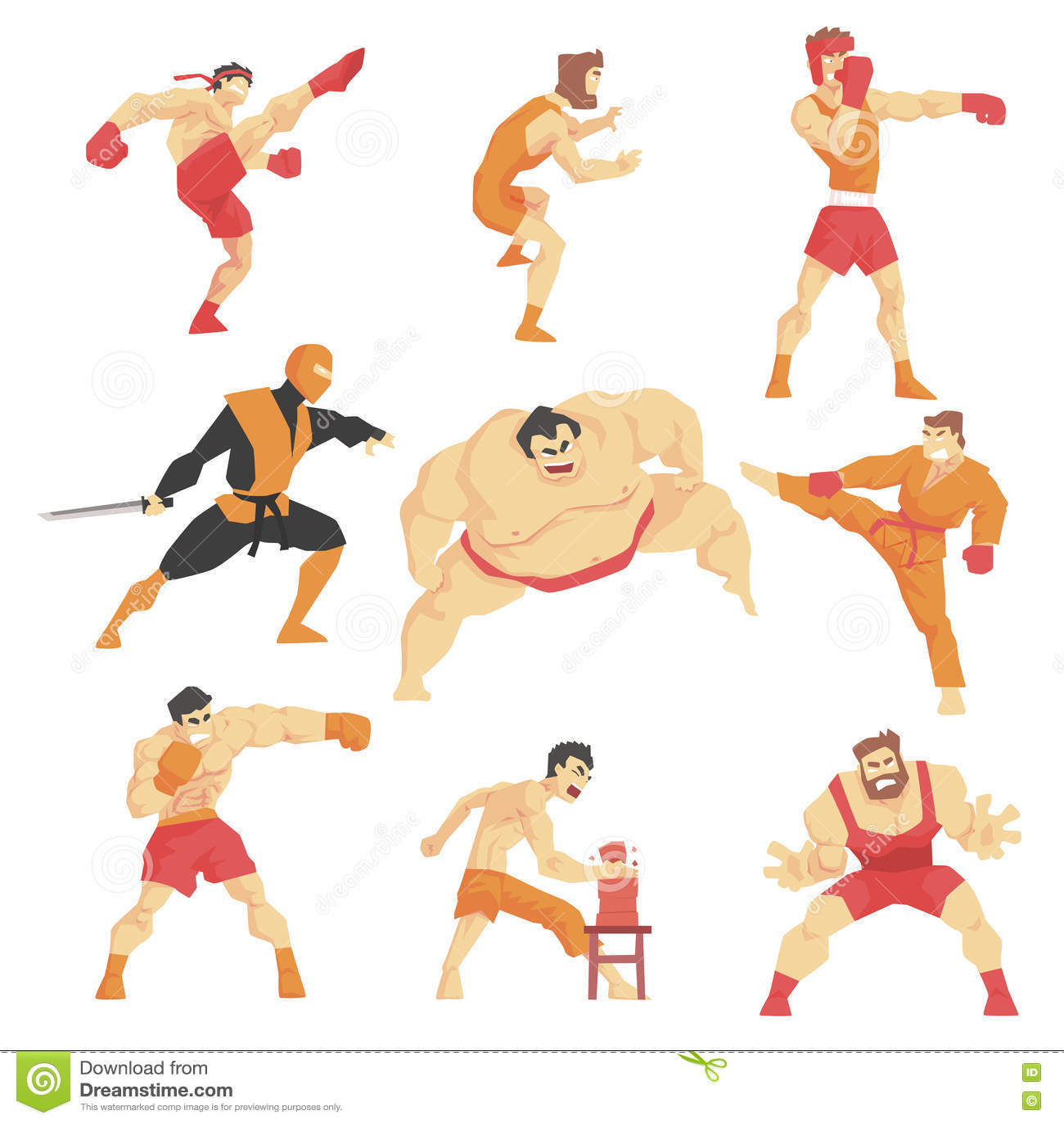 Combattenti di arti marziali che dimostrano le scosse differenti di tecnica fissate degli sport asiatici di combattimento profess