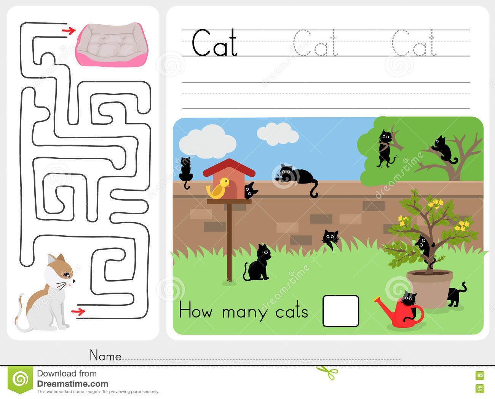 Combien de chats et jeu de labyrinthe
