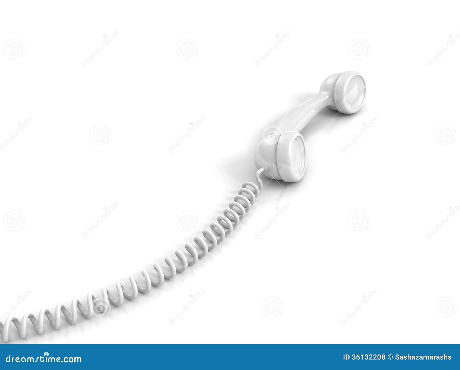 Combiné de téléphone blanc avec le câble en spirale