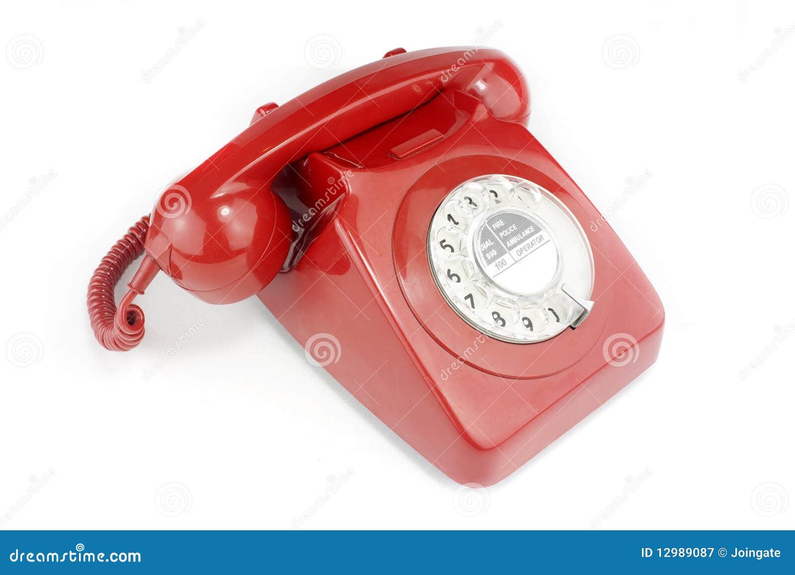 combin t l phonique de t l phone rouge lumineux d mod. Black Bedroom Furniture Sets. Home Design Ideas