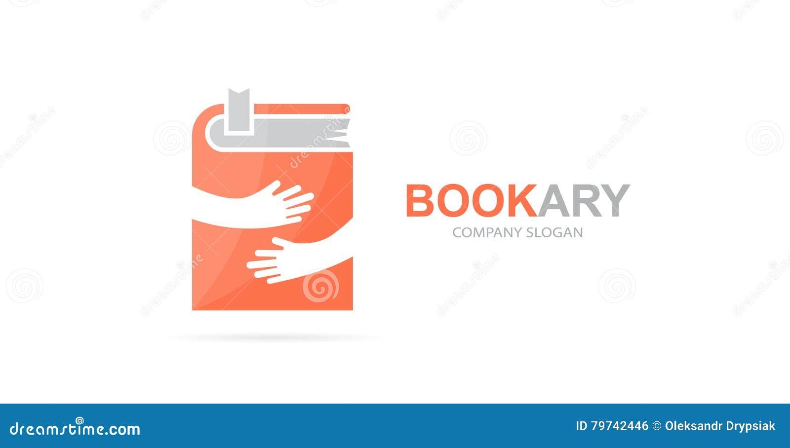 Combinación del logotipo del libro y de las manos del vector Novela y símbolo o icono del abrazo Diseño único del logotipo de la