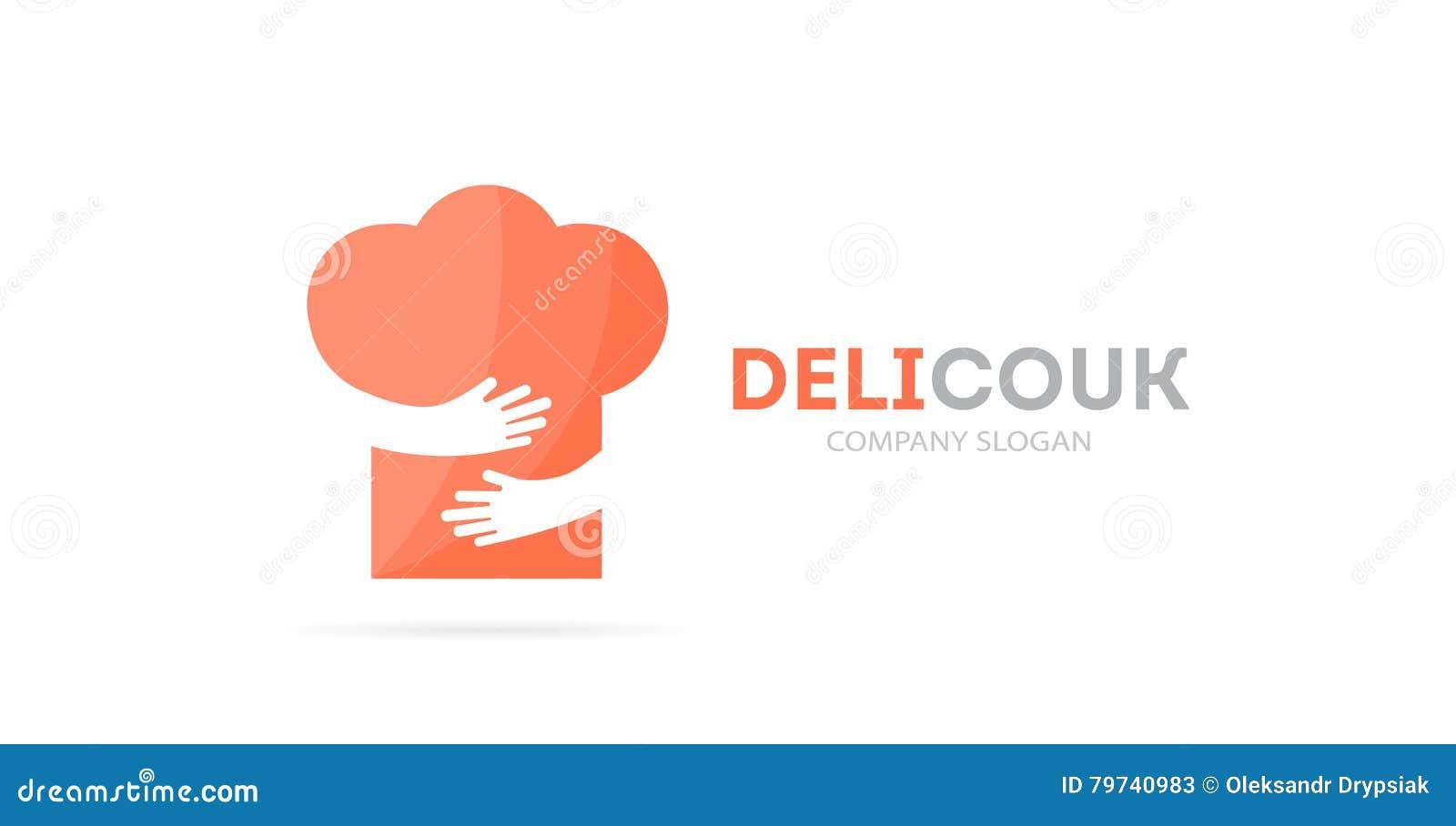 Combinación del logotipo del sombrero y de las manos del cocinero del vector Menú y símbolo o icono del abrazo Logotipo único del