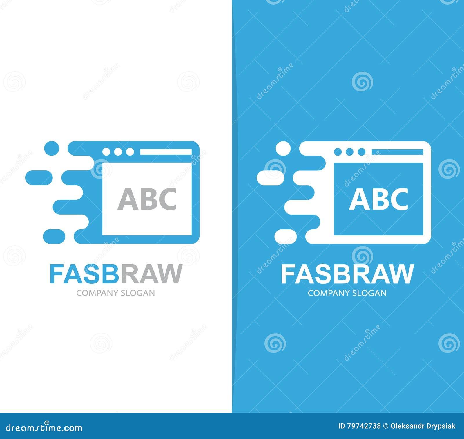 Combinación rápida del logotipo del navegador del vector Símbolo o icono de la página web de la velocidad Plantilla única del dis