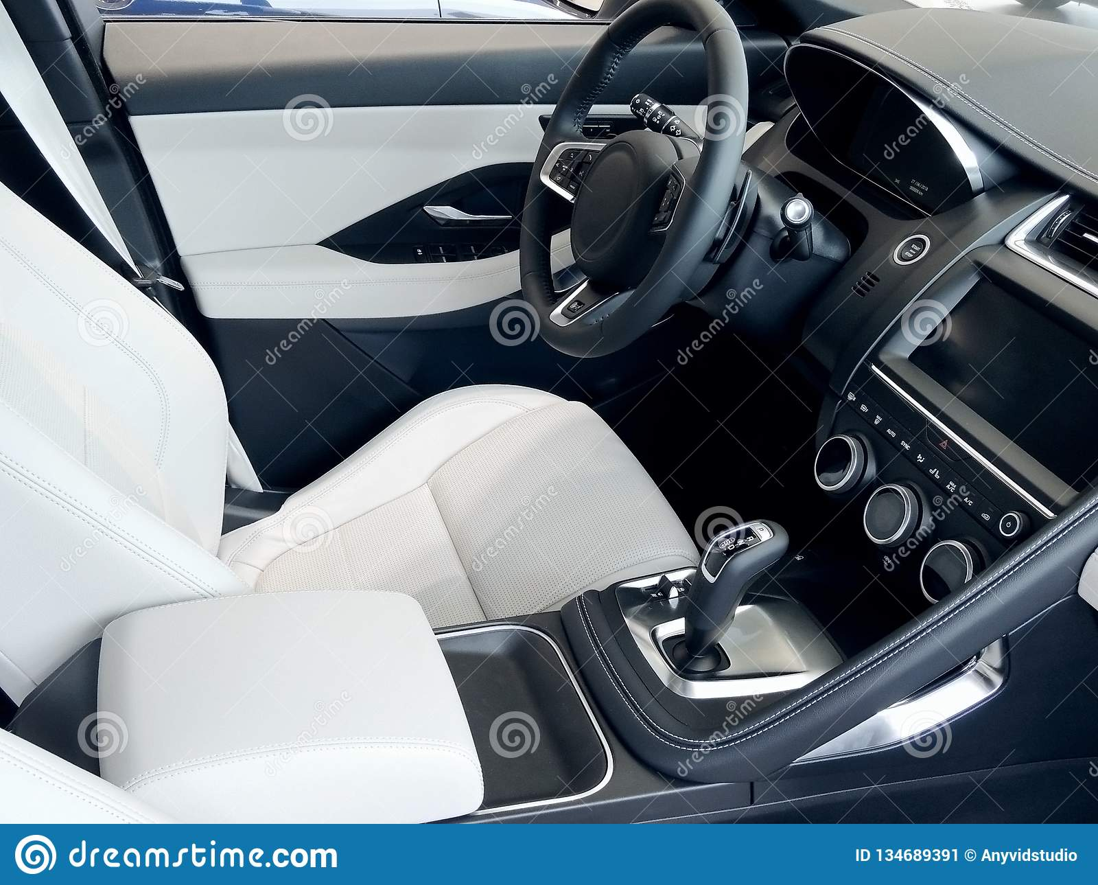 Car Leather Upholstery >> Combination Of Black And White Leather Upholstery In Car