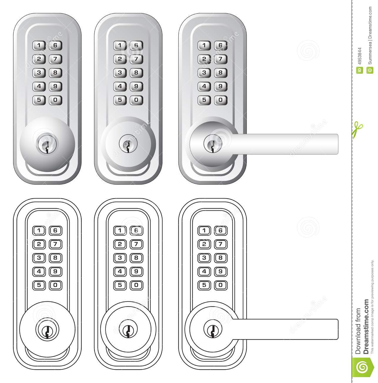 door lock and key black and white. Combination And Key Door Lock Illustration Black White