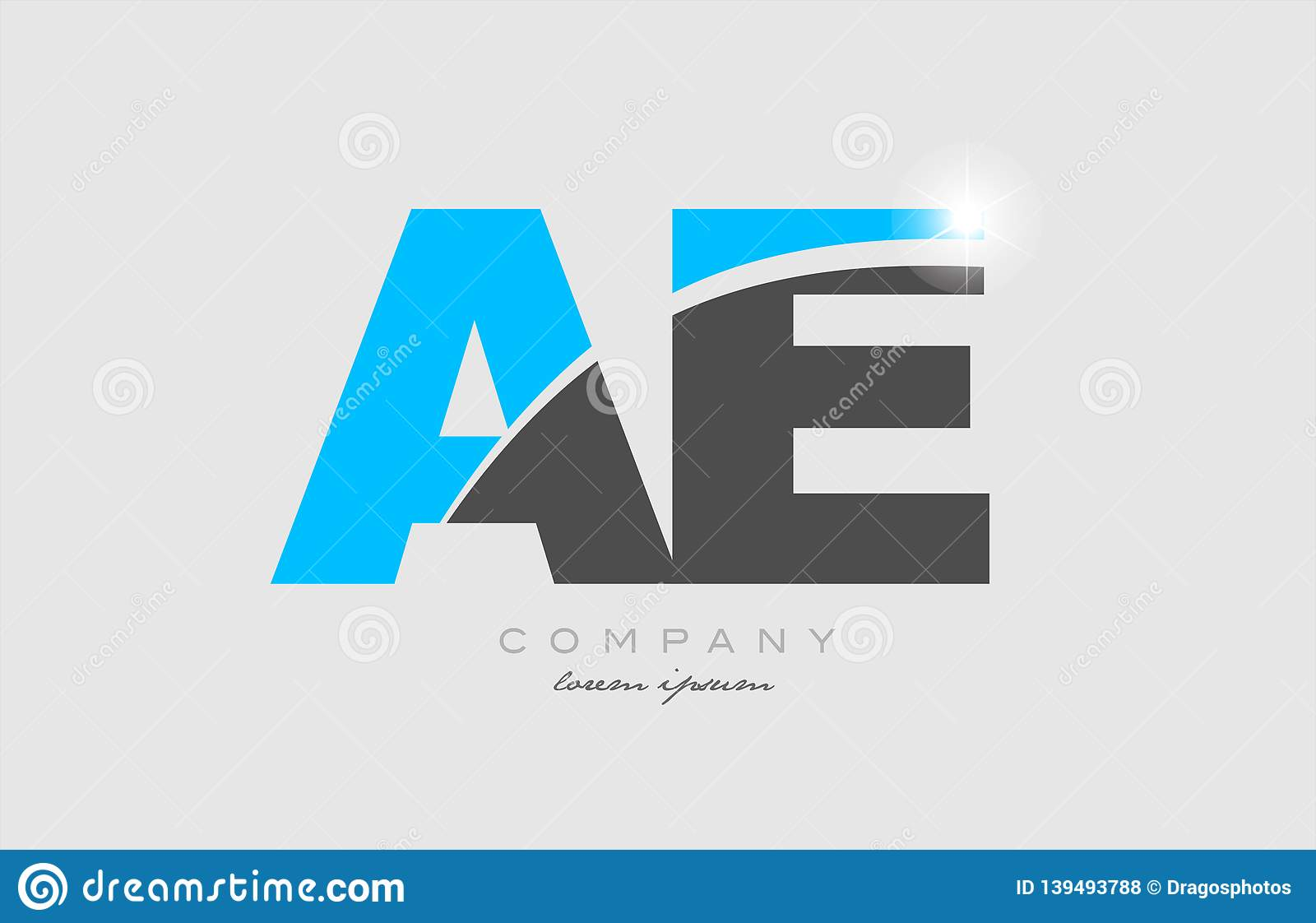 Combination Letter Ae A E In Grey Blue Color Alphabet For Logo Icon