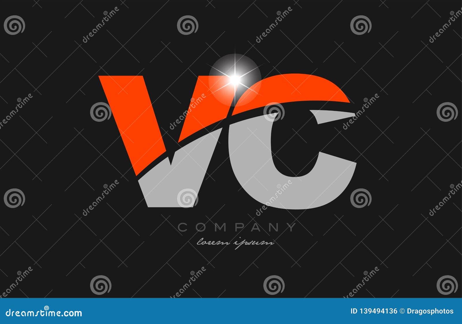 Combination Letter Vc V C In Grey Orange Color Alphabet ...