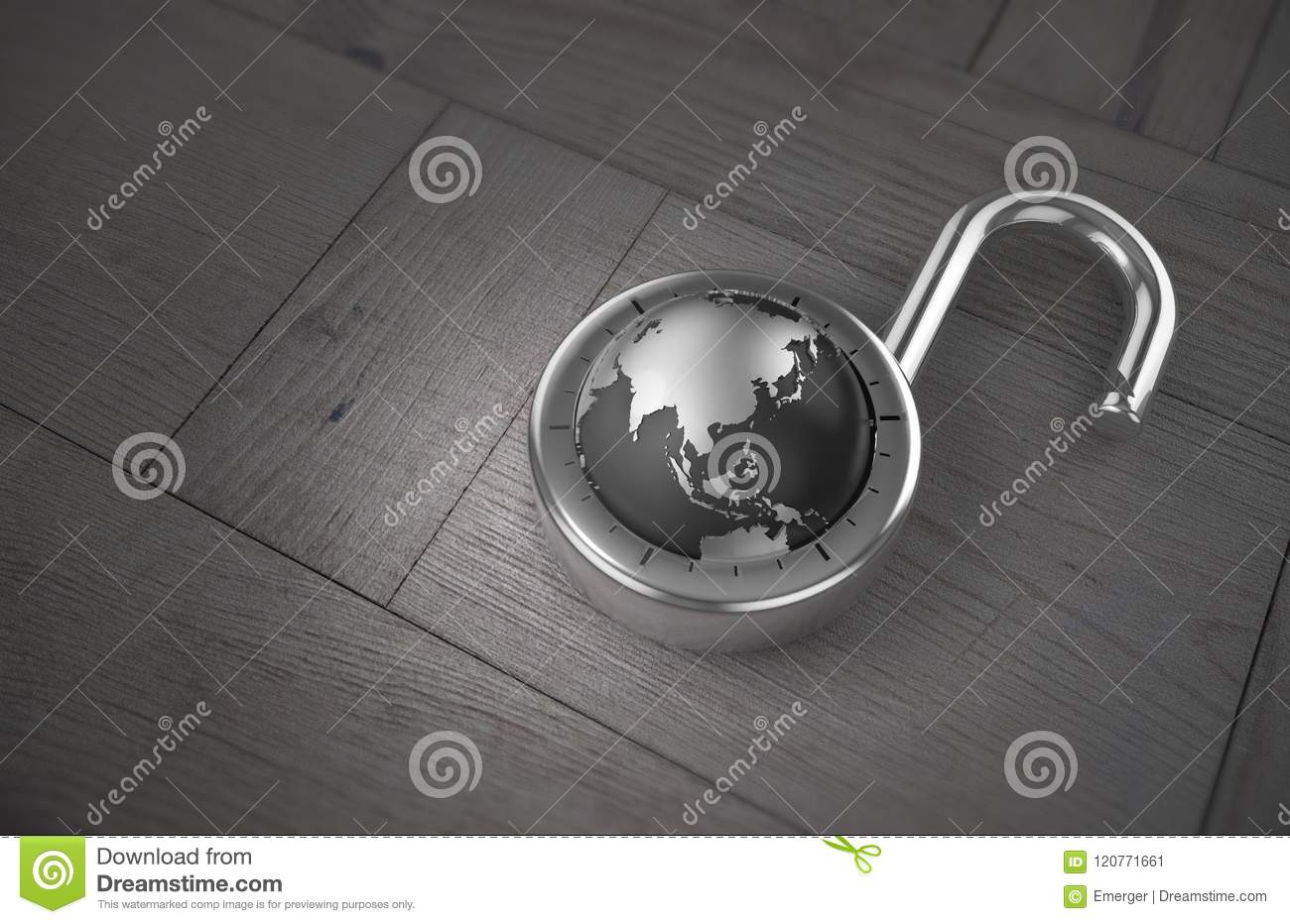 Unlocking China For Trade On A Wooden Table As 3d Rendering  Stock