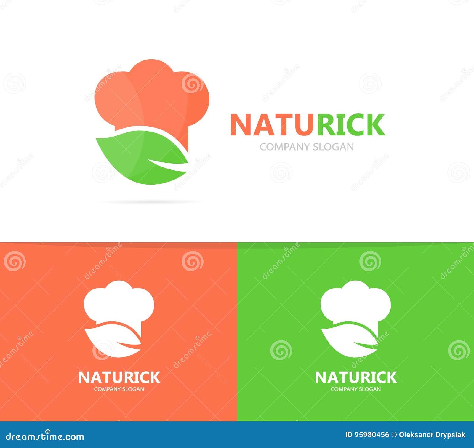 Combinazione Di Logo Della Foglia E Del Cuoco Unico Cucina E Simbolo
