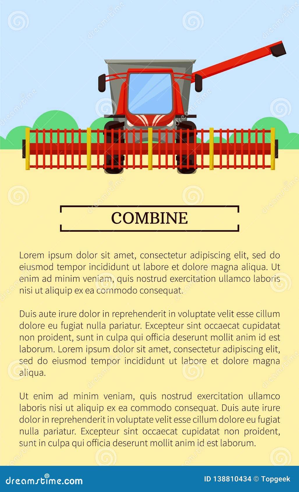 Combine Machine Field Poster Vector Illustration