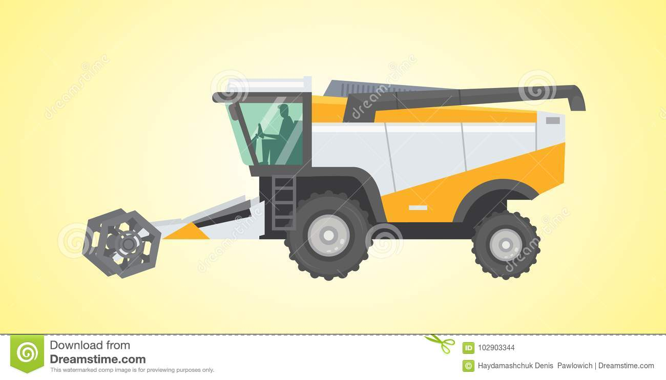 Combine harvester, vector isolated illustration.