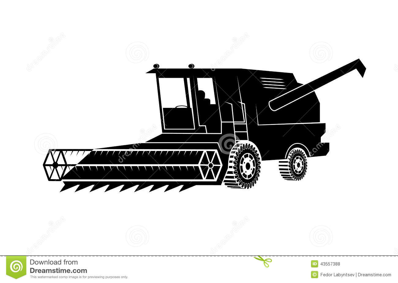 Combine Harvester On A White Background Stock Vector ...
