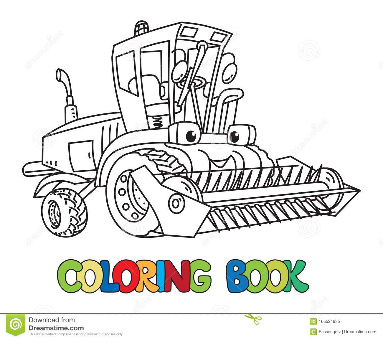 Combine Or Lawn Mower With Eyes Coloring Book Stock Vector ...