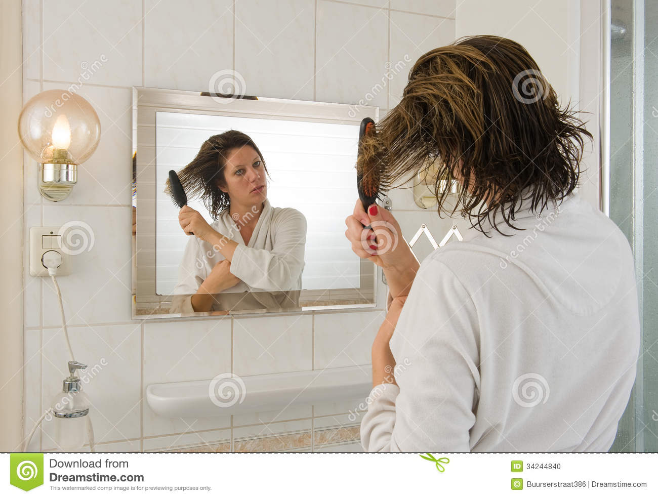 Combing Hair In Bathroom Stock Photo Image Of Wife Hair 34244840