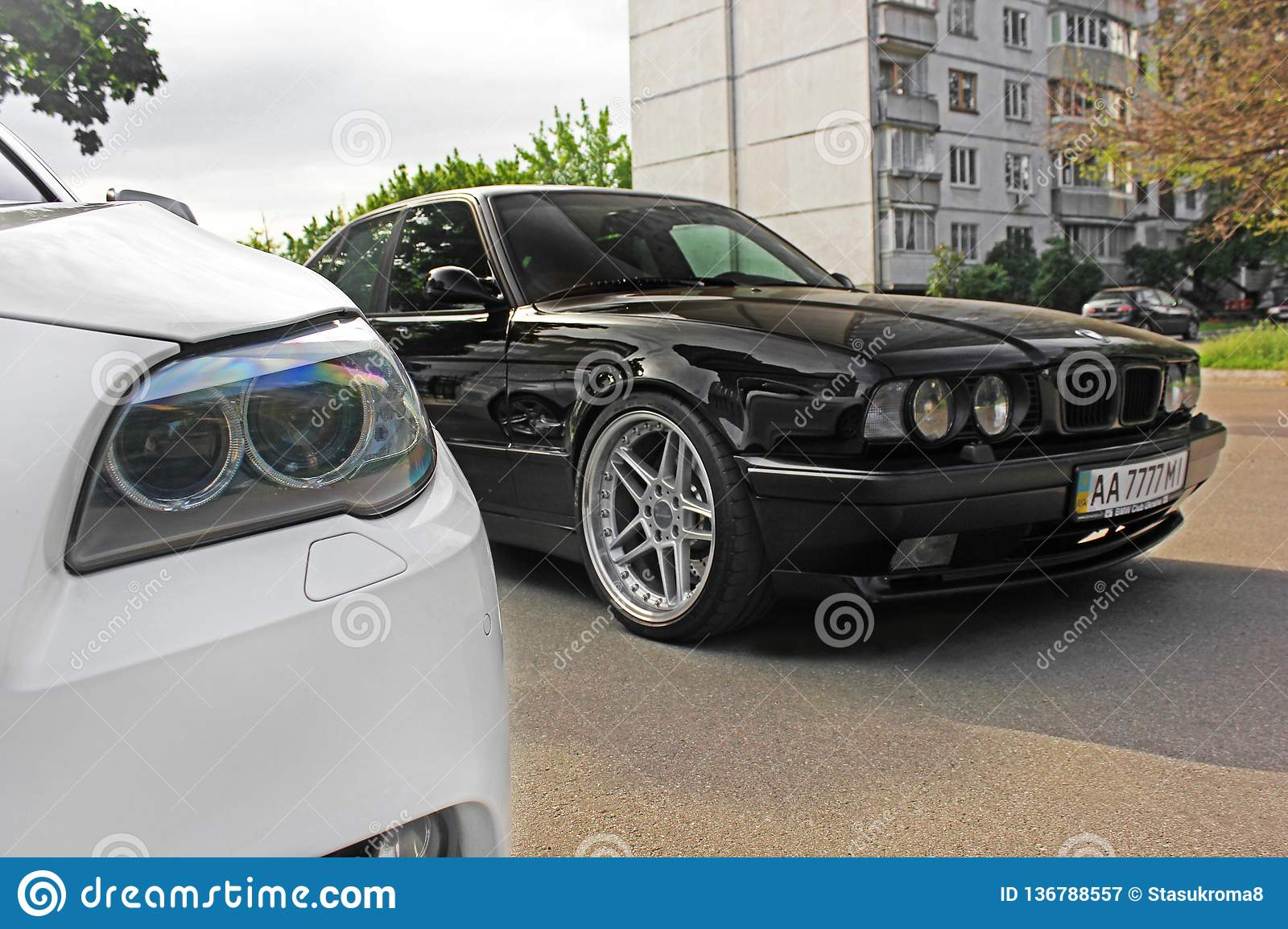 Kharkov Ukraine Autumn September 2017 Combo Bmw Two Bmw M5 Black And White Bmw M5 F10 And M5 E34 In The City Editorial Photography Image Of City Concept 136788557