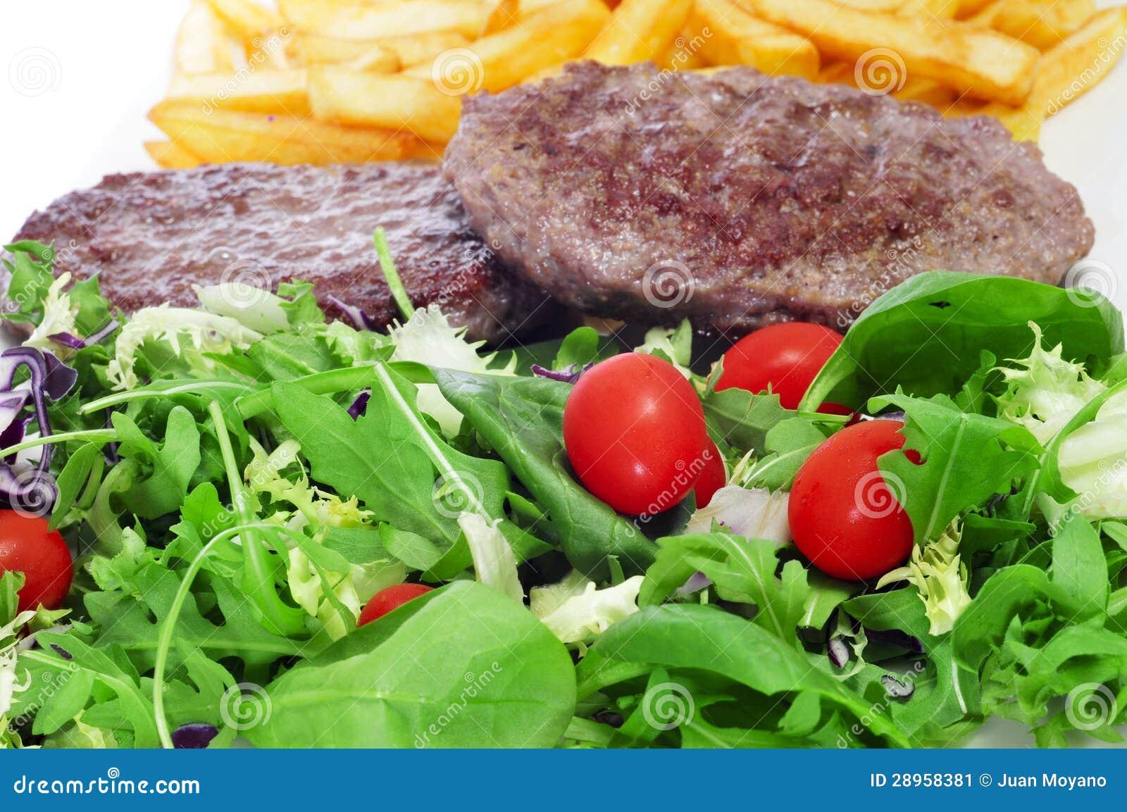 Combo półmisek z sałatki, hamburgeru i francuza dłoniakami,