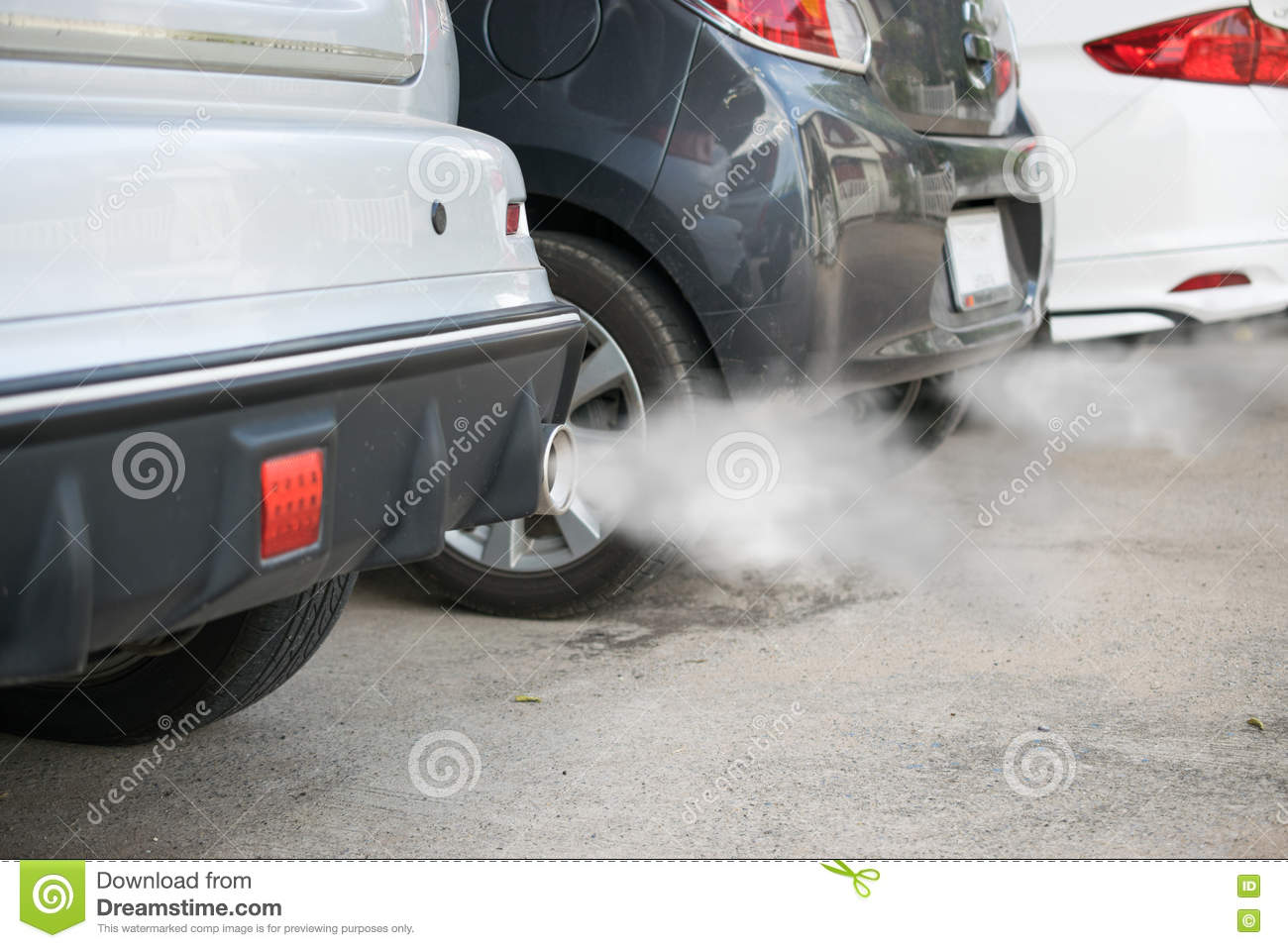 Exhaust Coming Out Of A Car ~ Combustion fumes coming out of car exhaust pipe stock