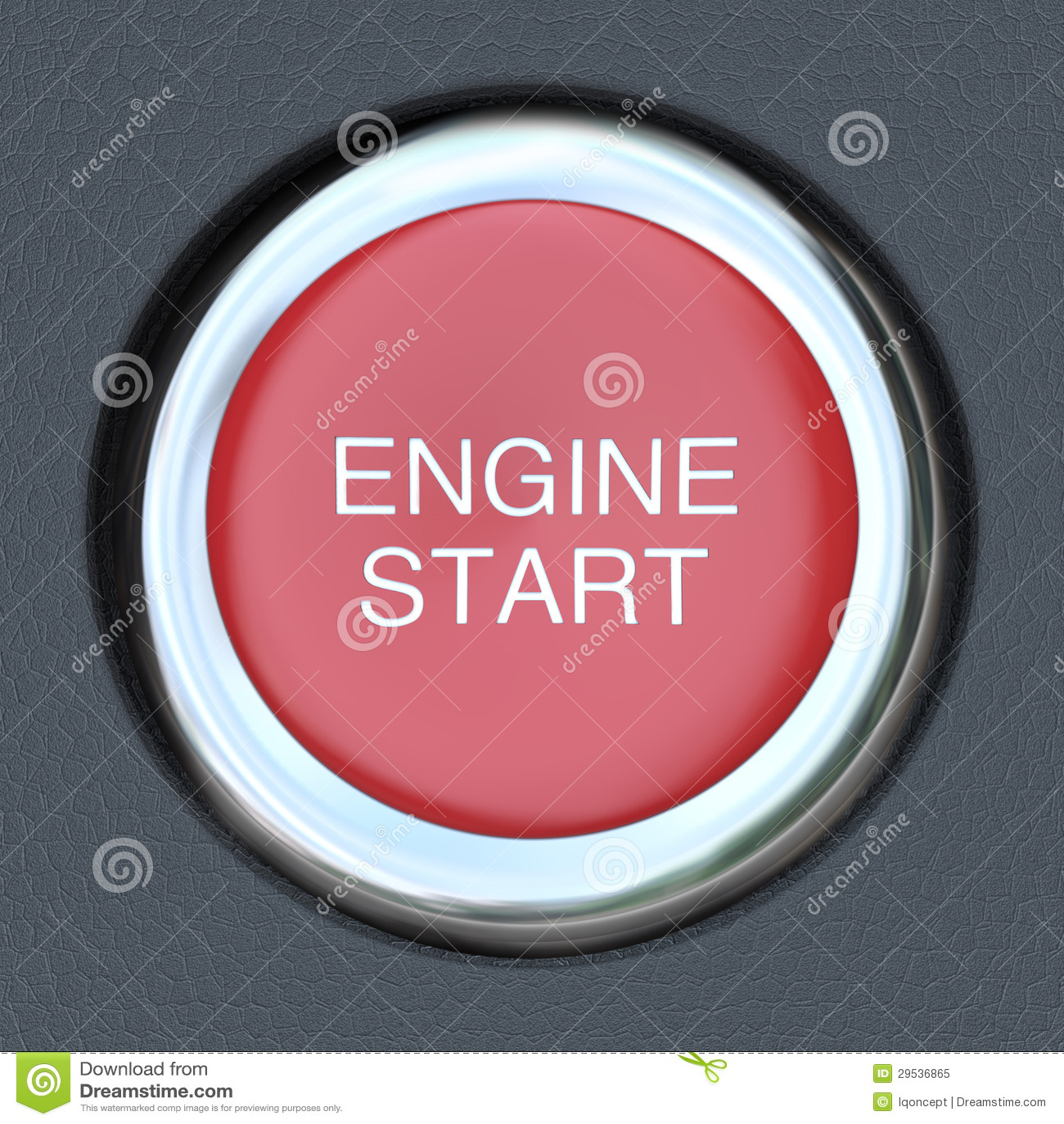 Começo do motor - acionador de partida da tecla do carro